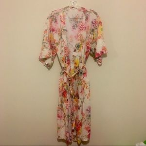 Bright Multicolored Floral Robe Spring Bride